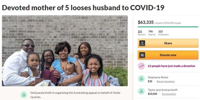 Taylor Swift donates ?36,000 to mum-of-five whose husband died of Covid