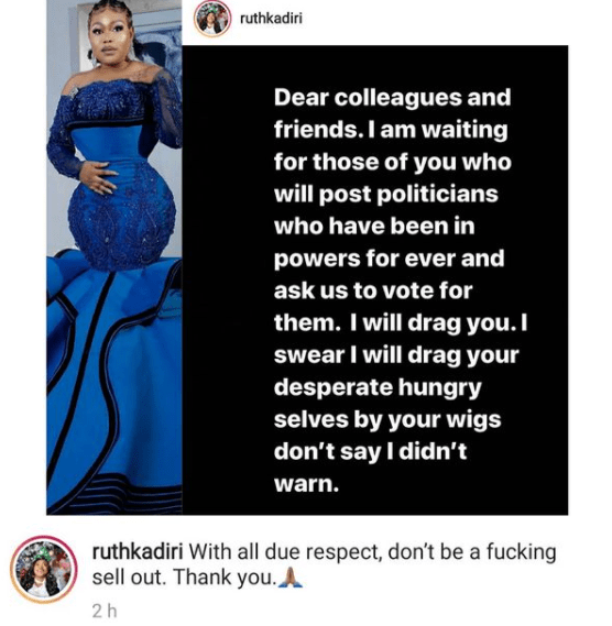 Actor, Ruth Kadiri vows to drag any of her colleagues who campaigns for politicians who have been in power for a long time