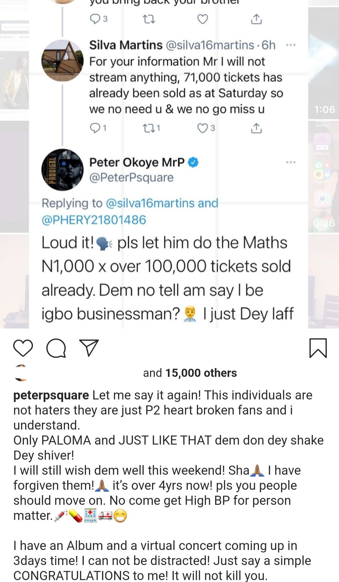 Singer, Peter Okoye responds to fan who said he won