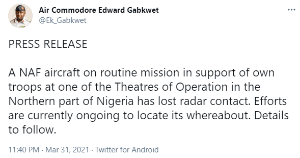 Nigerian Air Force aircraft goes missing during an operation in Northern Nigeria