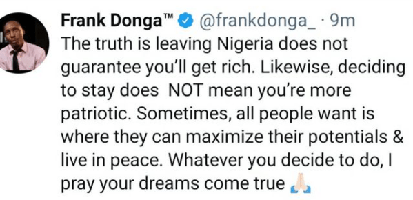 Leaving Nigeria does not guarantee you?ll get rich - Actor Frank Donga