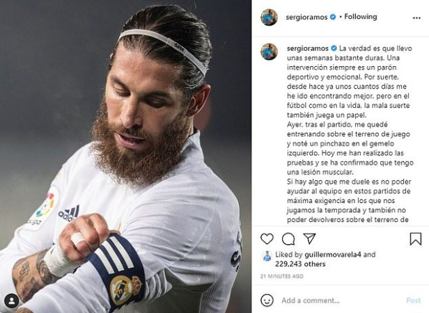 Real Madrid captain, Sergio Ramos reveals calf injury which could see him miss Champions League quarter-final against Liverpool and El Clasico clash with Barcelona?