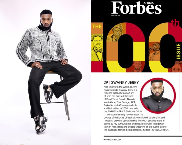 Celebrity stylist Jeremiah Ogbodo popularly known as Swankyjerry, Barack Obama, Ngozi Okonjoiweala, Lupita Nyong?o, Elon Musk, Genevieve Nnaji and many more listed on Forbes 2021100 icons from Africa