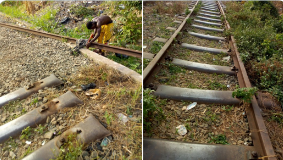 Man spotted cutting rail lines into different sizes in Enugu