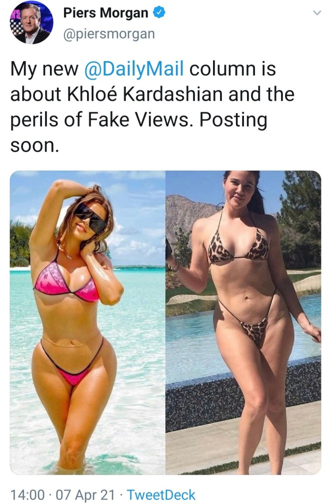 "Piers Morgan slams Khloe and entire Kardashian family after ""real"" unedited photo leak"