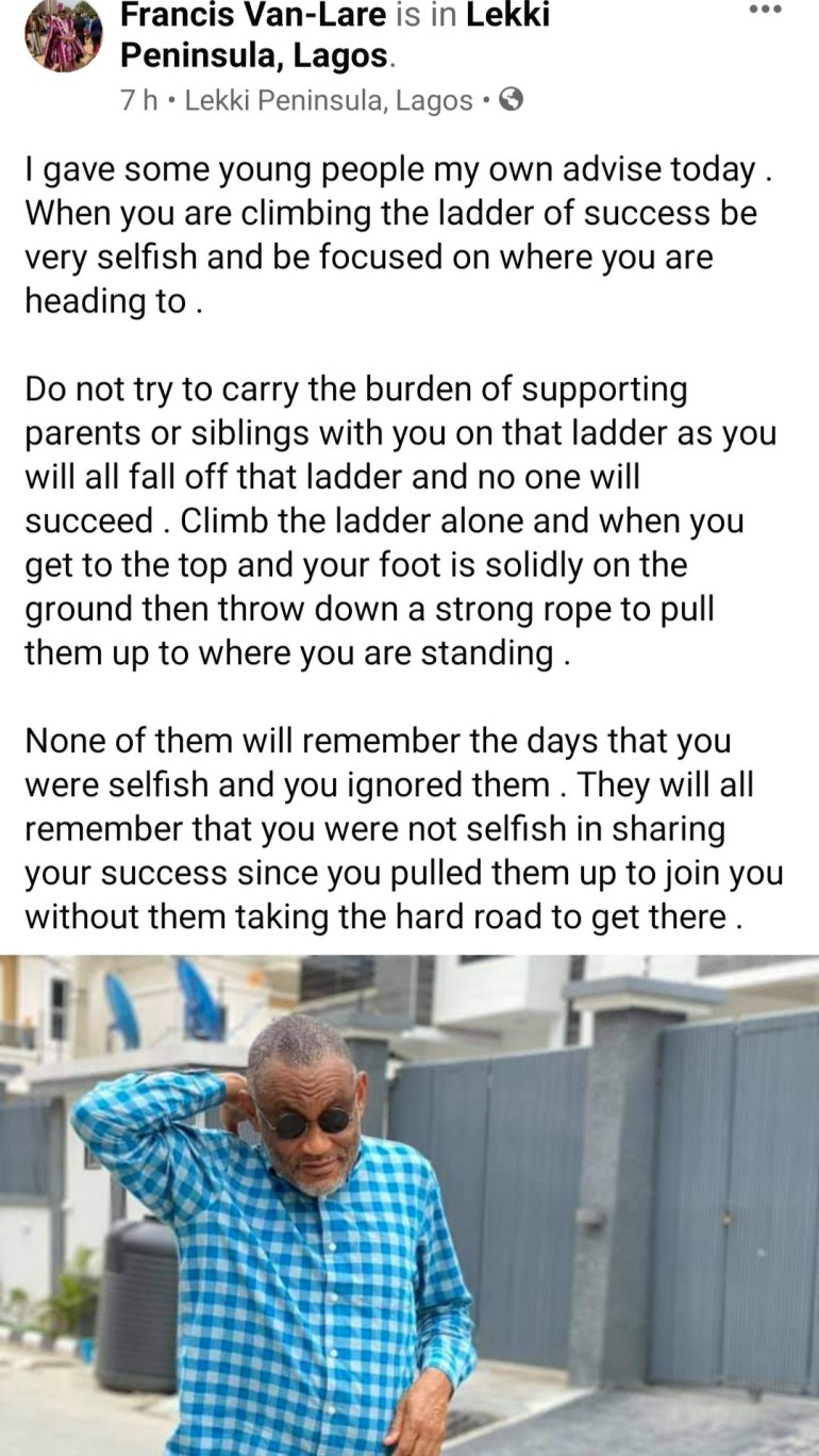 """""""Do not try to carry the burden of supporting parents or siblings"""" Francis Van-Lare advices young people still climbing the ladder of success"""