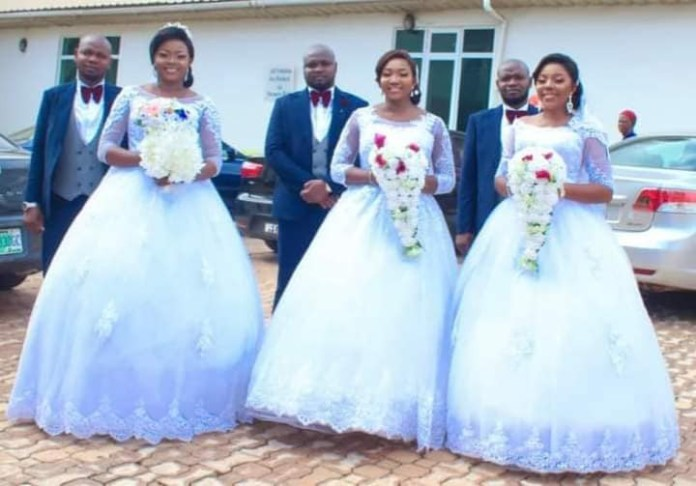 Triplets who married their wives same day in Enugu welcome baby boys within same period