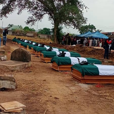 Twelve military officers killed by bandits in Benue laid to rest (photos)
