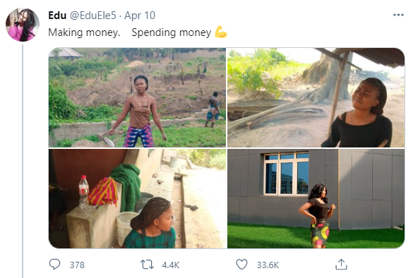 """Beautiful lady who fries garri and farms for a living goes viral as she transforms into a beauty to """"spend"""" her money"""