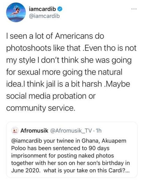 Cardi B finally reacts to Akuapem Poloo?s 90-day jail sentence over nude photoshoot with her son