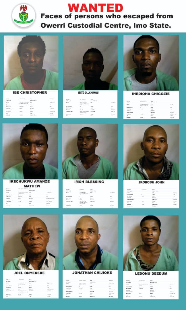 Nigeria Correctional Center releases more names and photos of some of the inmates that escaped during Imo jailbreak