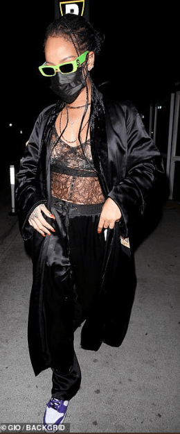 Rihanna goes braless under sheer lingerie and a bathrobe for late-night dinner outing with pals
