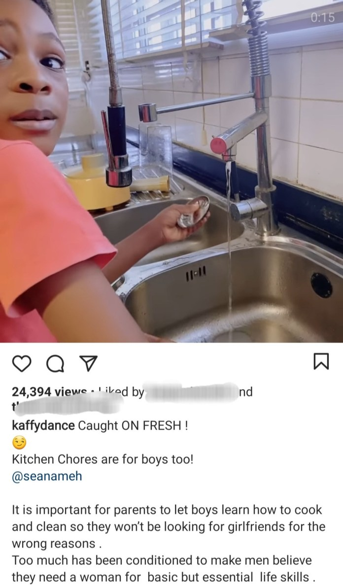 Dancer, Kaffy shares video of her son doing chores as she reveals why it