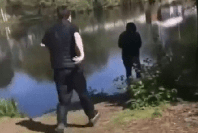 Teenagers record sick moment they kick pensioner, 74, into river