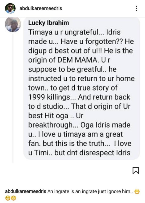 """An ingrate is an ingrate"" - Eedris Abdulkareem blasts Timaya again"