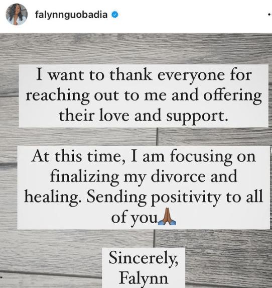 Falynn Guobadia issues statment on her estranged husband