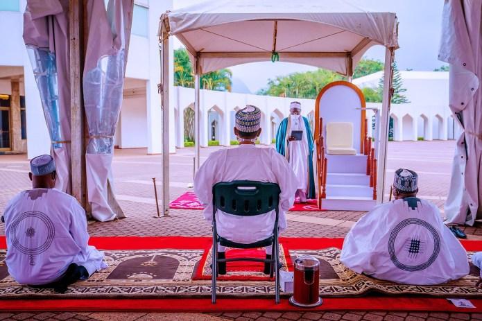 President Buhari, his wife and children observe Eid El Filtri in Asorock (photos)