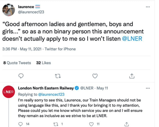 Train firm apologises to ?non-binary? passenger after he took offence at conductor?s ?ladies and gentlemen? announcement