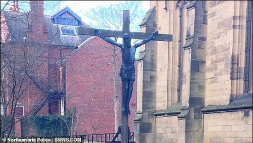 Thieves steal 6ft bronze crucifix worth ?20,000 from church garden of remembrance for the dead