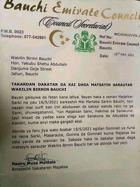 Bauchi Emirate Council suspends lawmaker as traditional title holder for disrespecting Emir