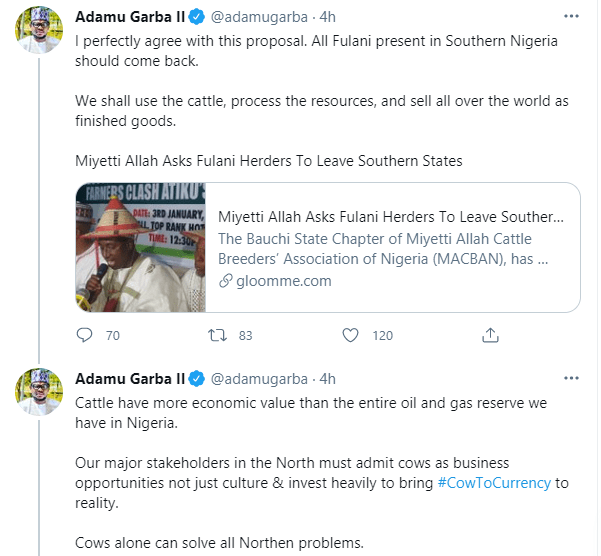 Cattle have more economic value than the entire oil and gas reserve we have in Nigeria - Former Presidential aspirant, Adamu Garba
