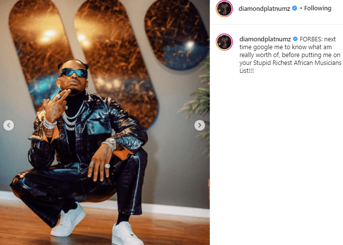 """""""Google my worth before putting me on your Stupid Richest African Musicians List"""" - Diamond Platnumz reacts to Forbes"""