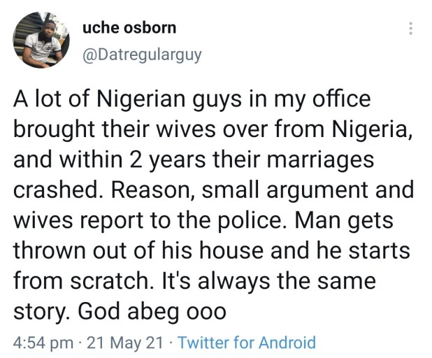 Nigerian man reveals what most of his colleagues who brought their wives from Nigeria to the UK, are going through