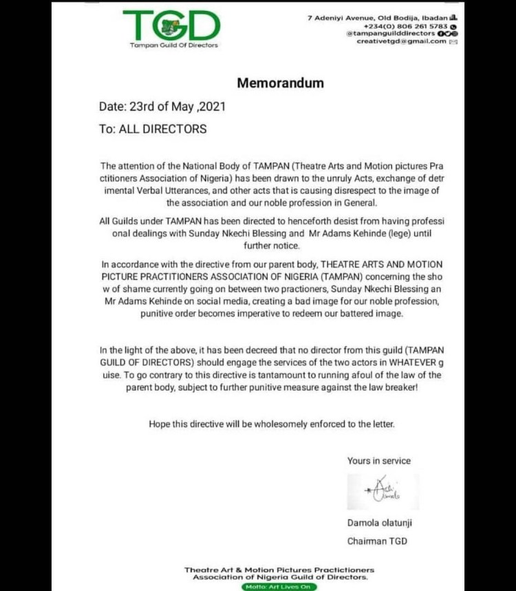 Baba Ijesha: TAMPAN Guild of Directors suspend actors Nkechi Blessing Sunday and Kehinde Adams aka Lege
