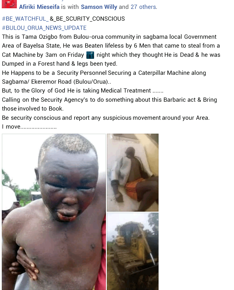 Man found alive in Bayelsa forest with hands and legs tied after being attacked by unknown assailants (photos)