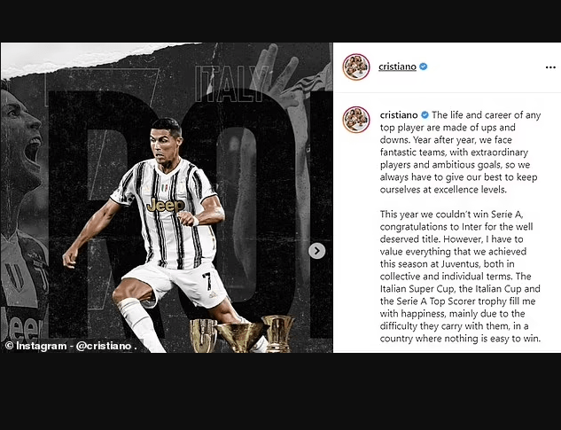 Cristiano Ronaldo issues cryptic post in hint he is leaving Juventus as he thanks fans on Instagram?