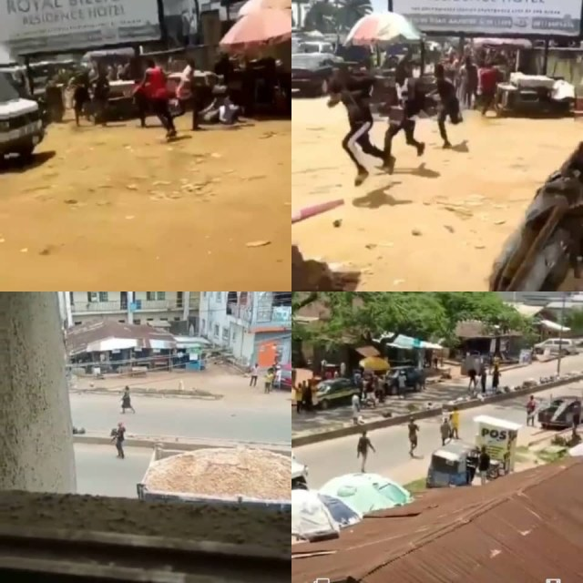 Pandemonium in Imo as unknown gunmen storm street, shooting sporadically into the air (videos)