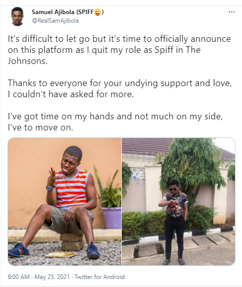 """Samuel """"Spiff"""" Ajibola quits his role in """"The Johnson"""" TV series"""
