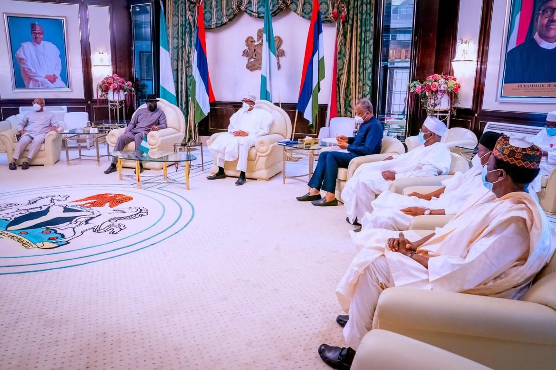 Former President, Goodluck Jonathan, visits President Buhari in the state House Abuja