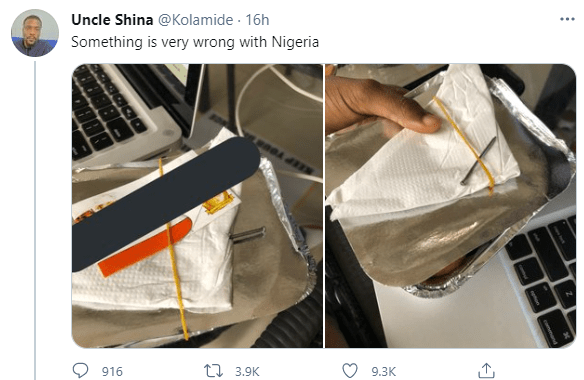 Nigerian man claims he was served small chops with 2-inch nail instead of toothpick