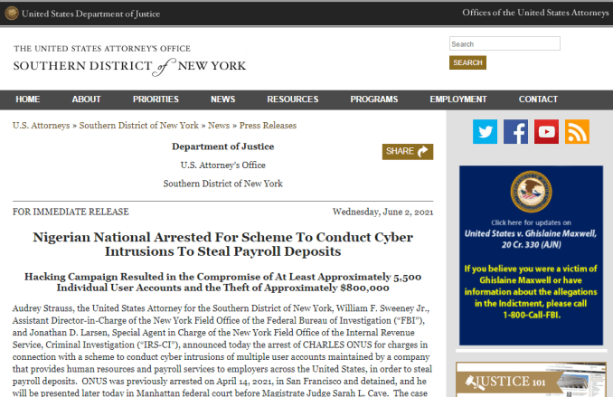 Another Nigerian arrested in U.S for stealing $800000 in payroll hacking