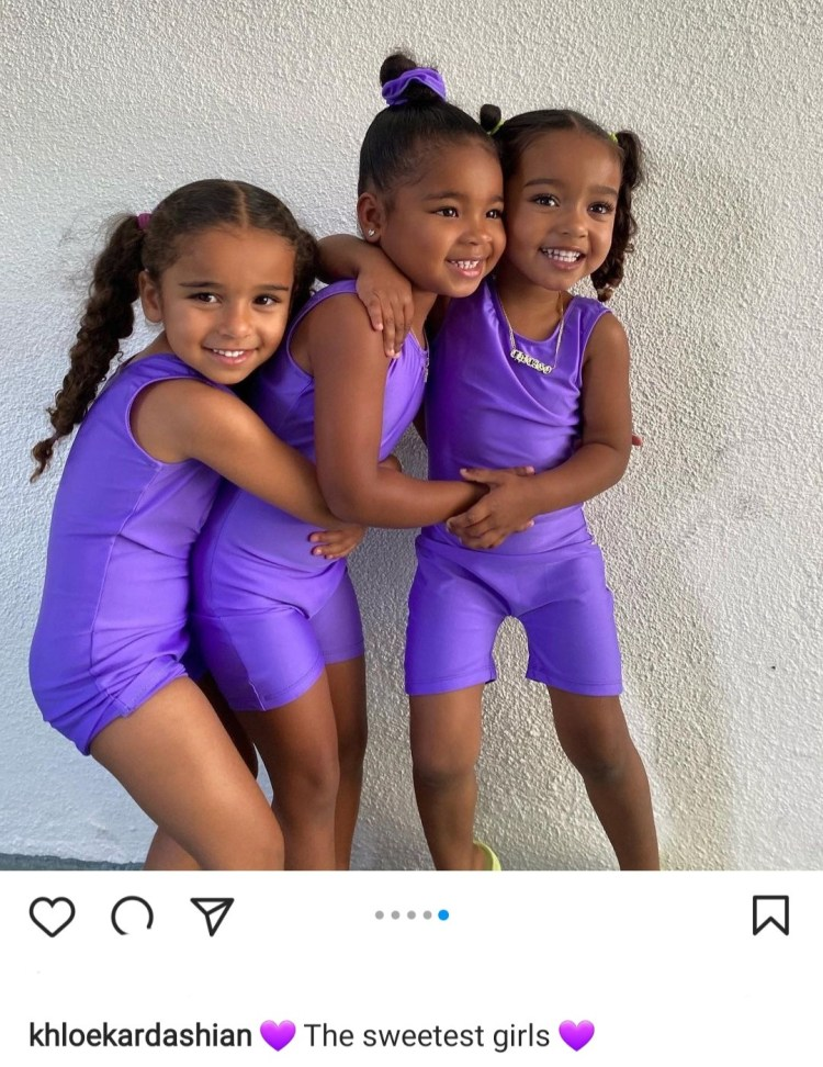Khloe Kardashian shares adorable photos of her daughter True with cousins Dream and Chicago in matching purple leotards