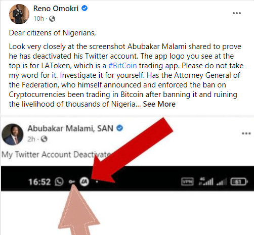 Reno Omokri calls out AGF Abubakar Malami; alleges Cryptocurrency trading and use of VPN which is banned in the country