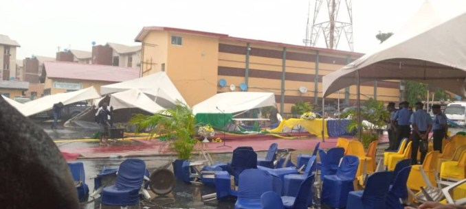 Officers and guests run for safety as heavy wind disrupts reception organized for IGP Baba's maiden visit to Lagos Police Command (video/photos)