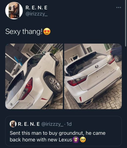 Nigerian lady shares photo of a new car her husband got for her in place of groundnut she sent him out for