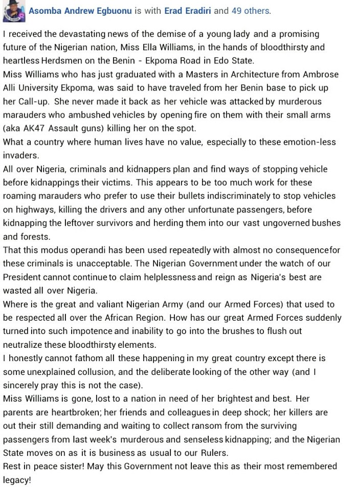 Fresh graduate shot dead by suspected herdsmen on her way to AAU Ekpoma to collect NYSC call-up letter