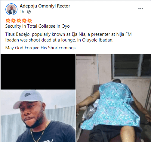 Gunmen kill popular OAP, Titus Badejo ?Eja Nla? in Ibadan