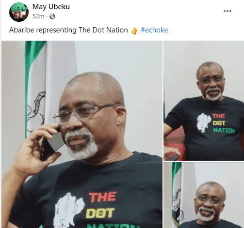 Abaribe wears a 'dot in the circle' t-shirt after Buhari's comment