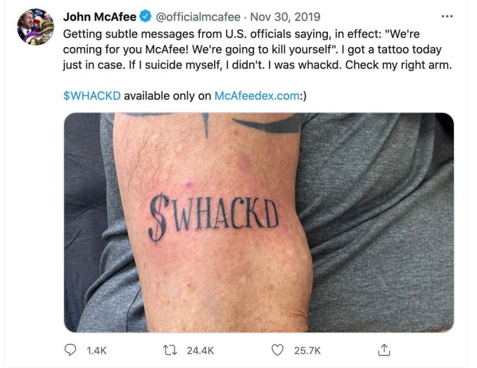 'If I suicide myself, I didn't': John McAfee's 2019 Tweet surfaces online after he's found dead in Spanish Prison