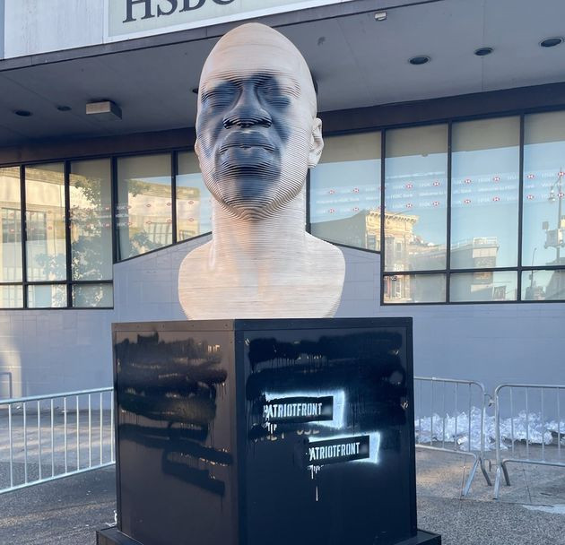 George Floyd statue vandalised with name of white supremacist group, one day before Derek Chauvin's sentencing(photos)