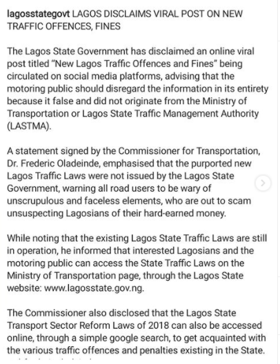 Lagos state government disclaims viral post on new traffic offences and fines