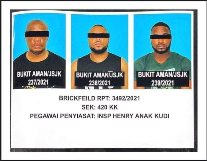 Six Nigerians and a Malaysian woman arrested for love scams in Kwala Lumpur