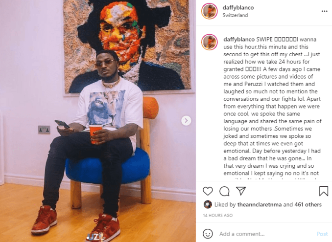 Peruzzi reacts after lady who accused him of sexual assault, Daffy Blanco revealed that she dreamt about him dying 1