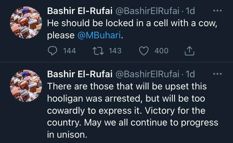 He should be locked up in a cell with a cow - Bashir El-Rufai writes after Nnamdi Kanu