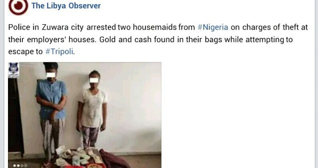 Two Nigerian housemaids arrested for allegedly stealing employers