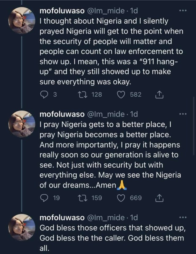 Lady prays for Nigeria after 911 experience in the United States